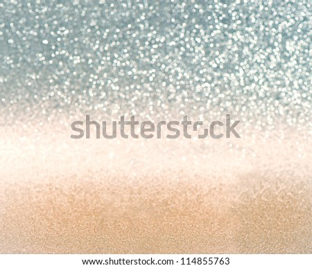 abstract festive shiny background. golden and blue lights - stock photo