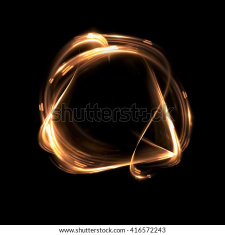 Abstract fiery ring background with luminous swirling backdrop. Glowing spiral. The energy flow tunnel. shine round frame with light circles light effect. glowing cover. Space for your message. - stock photo