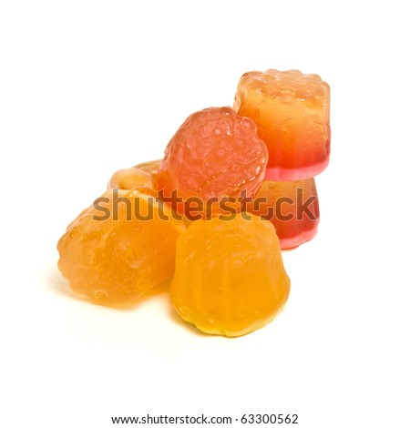 Abstract filled soft Jelly Sweets from low perspective isolated on white. - stock photo