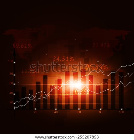 abstract finance diagram on world map red business background - stock photo