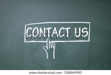 abstract finger click contact us button - stock photo