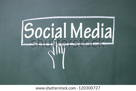 abstract finger click social media sign - stock photo