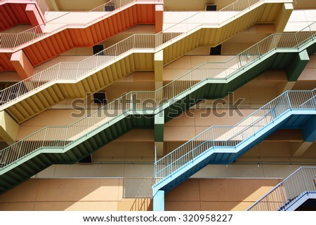 Abstract fire escape background - stock photo