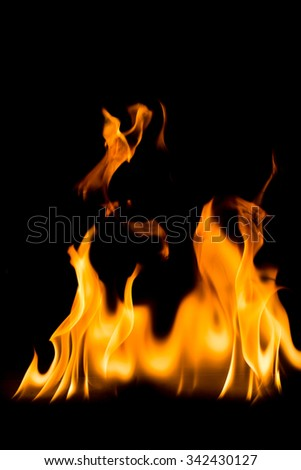 abstract fire on black background - stock photo