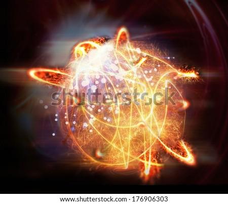 Abstract fireball on black background - stock photo
