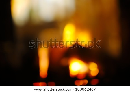 abstract fireplace flame background at home - stock photo