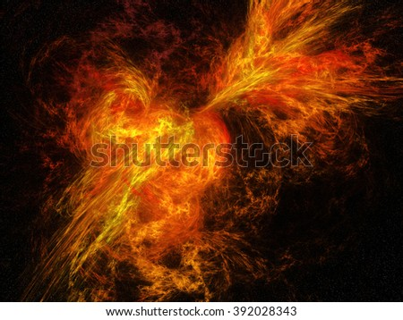 Abstract flames explosion illustration in deepspace. - stock photo