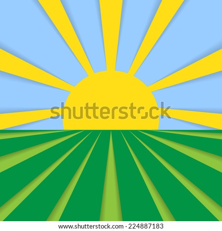 Abstract flat background cornfield and sun in blue sky. Sun and field. Healthy eating symbol for your design. Rural landscape with fields and sun. - stock photo