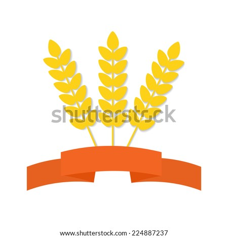 Abstract flat wheat ears on isolated background with decorative banner. Healthy eating symbol for your design. - stock photo