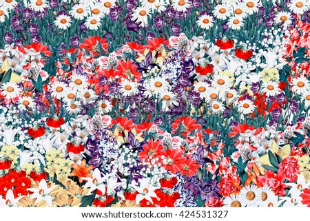 Abstract floral background. Background of colorful flowers - stock photo