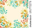 Abstract floral background with frame and space for text - raster version  - stock photo