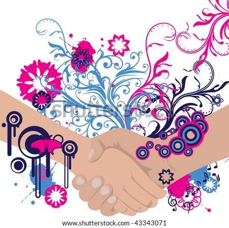abstract floral handshake with place for your text - stock photo