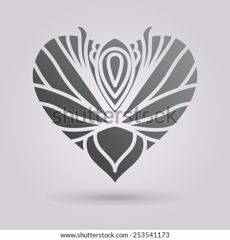 Abstract floral heart. The illustration on gray background - stock photo