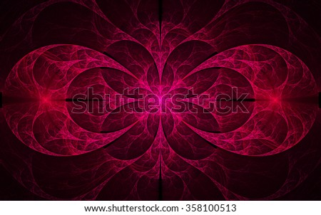 Abstract floral ornament on black background. Symmetrical pattern. Computer-generated fractal in dark rose and red colors. - stock photo