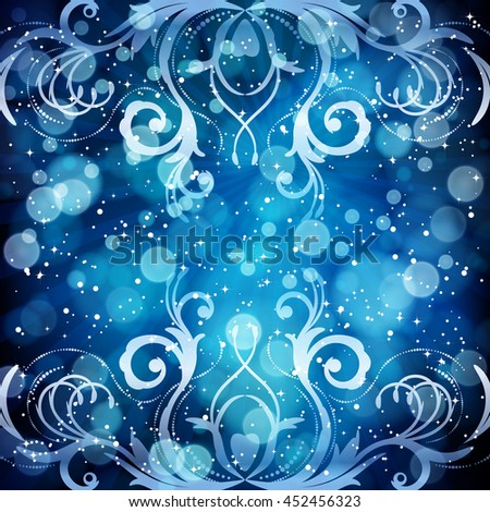 Abstract floral pattern on a blue background, made of transparent rays, stars, bokeh. Magical fantasy flowers design card.   - stock photo