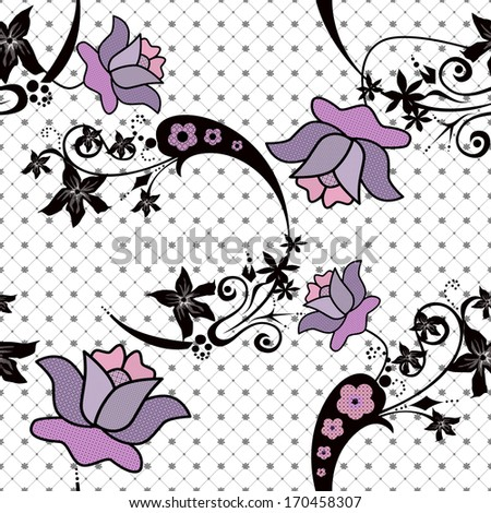 Abstract floral pattern on white background - stock photo