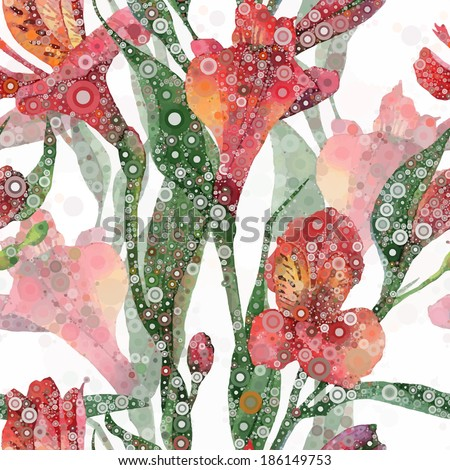 Abstract floral pattern.  seamless background. Red alstroemeria - stock photo