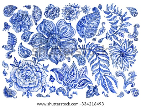 Abstract floral pattern set of indigo blue hand painted watercolor fantasy leaves, flowers,  Paisley elements and branches isolated on a white background.Textile print elements for design,album cover - stock photo