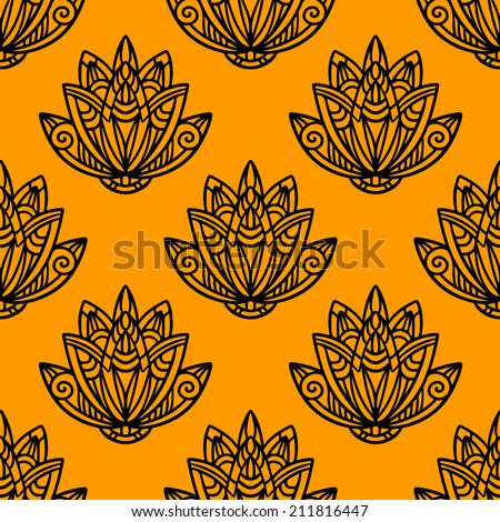 Abstract floral seamless pattern with lotus flowers in black and gold. Water lily. Hand drawing illustration. Endless print texture. Fabric design. Wallpaper - raster version - stock photo
