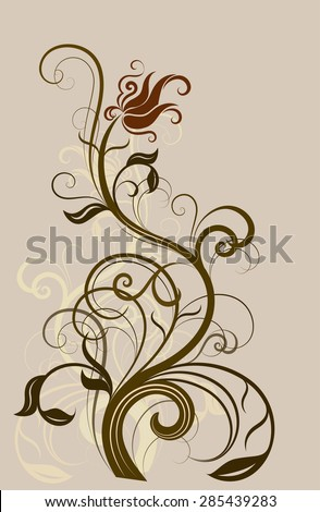 Abstract floral vintage design element. - stock photo
