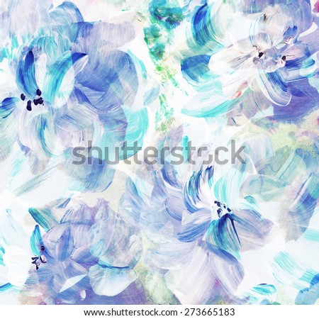 Abstract floral watercolor hand painted background  - stock photo