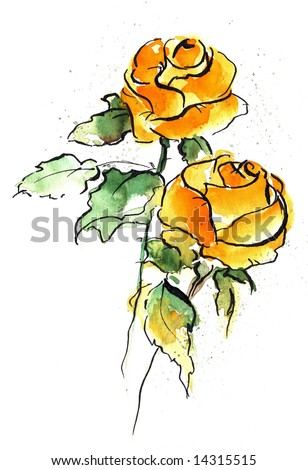 Abstract floral watercolor illustration with design of two yellow rose flowers on white. Art is painted and created by photographer - stock photo