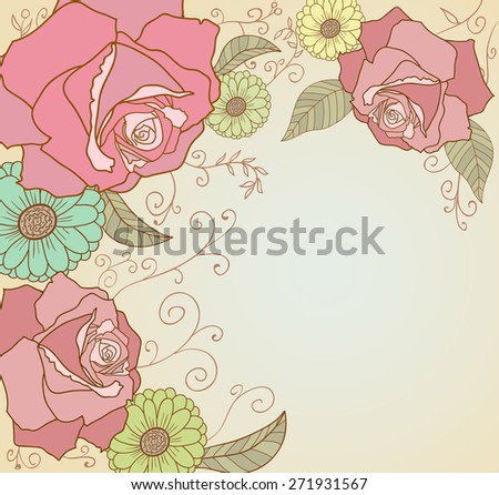 Abstract flower background with roses and leaves - stock photo