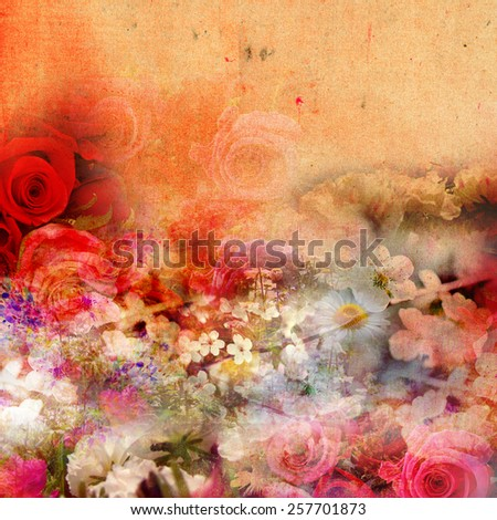 Abstract flower background with soft distressed color tones and grunge style design. - stock photo
