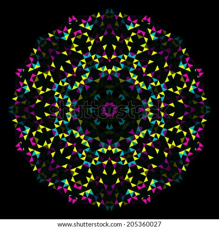 Abstract Flower. Creative Colorful Style Wheel. Cyan Emerald Magenta Yellow Black Dominant Color - stock photo