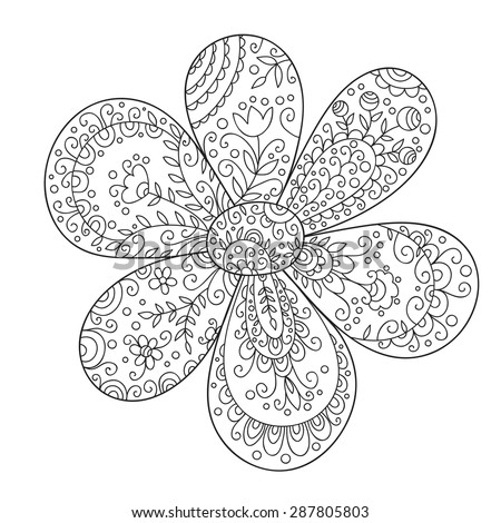 Abstract flower. Cute monochrome doodle flower. - stock photo