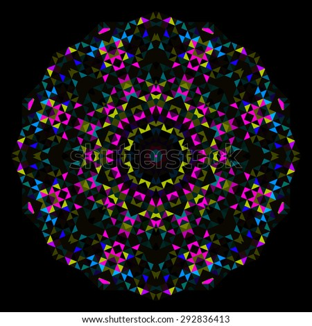 Abstract Flower. Cyan Magenta Yellow Black Dominant Color - stock photo
