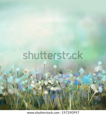 abstract flower plant painting - stock photo
