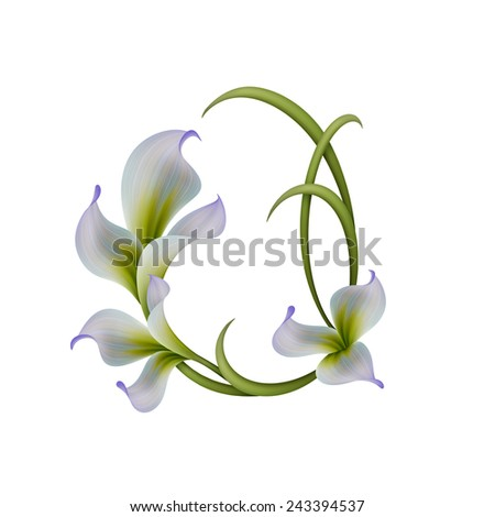 abstract flowers illustration isolated on white background, easter floral composition - stock photo