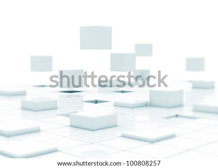 Abstract flying cubes - stock photo