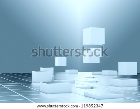Abstract flying 3d cubes - stock photo