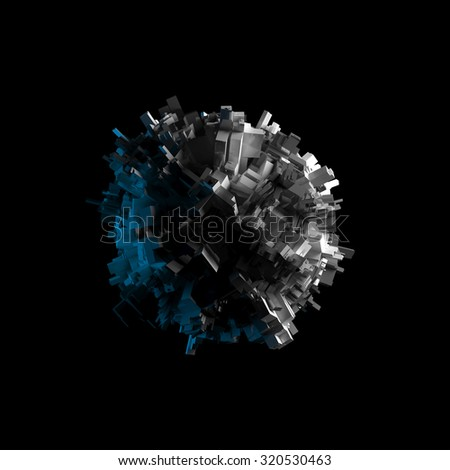 Abstract flying spheric object with chaotic extruded surface isolated on black, 3d illustration - stock photo