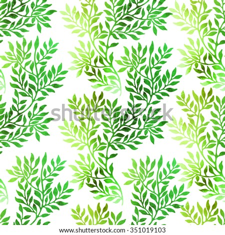 Abstract foliate watercolor hand painted background. Seamless floral ornament. - stock photo