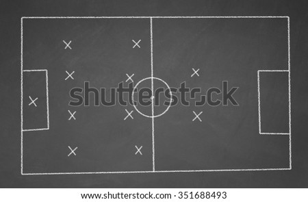 Abstract football field drawn with chalk on blackboard. 4-4-2 scheme - stock photo