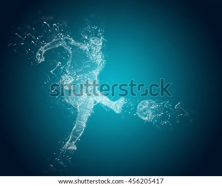Abstract Football players in action. Crystal ice effect - stock photo