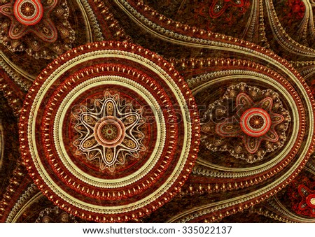 Abstract fractal astronomical clock, cogweel steampunk design - stock photo