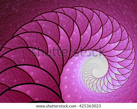Abstract fractal background - computer-generated image. Fractal artwork - spiral or shell with beautiful texture of repeating images. For banners, posters, prints, web design - stock photo