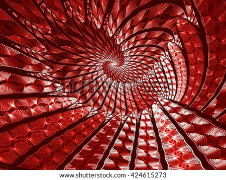 Abstract fractal background - computer-generated red image. Fractal art - unusual spiral tunnel. Trendy fractal for prints, covers, web-design - stock photo
