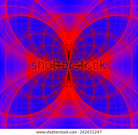 Abstract fractal background made out of dark vivid interconnected arches and circles creating a detailed flower-like geometric cross, all in high resolution and in blue and red - stock photo