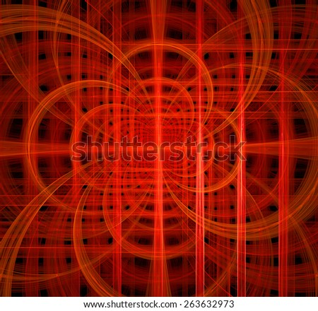 Abstract fractal background made out of glowing interconnected arches and circles behind a grid creating a detailed geometric structure against black color, all in high resolution and in red - stock photo