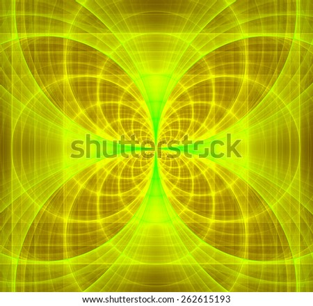 Abstract fractal background made out of shining interconnected arches and circles creating a detailed flower-like geometric cross, all in high resolution and in yellow and green - stock photo