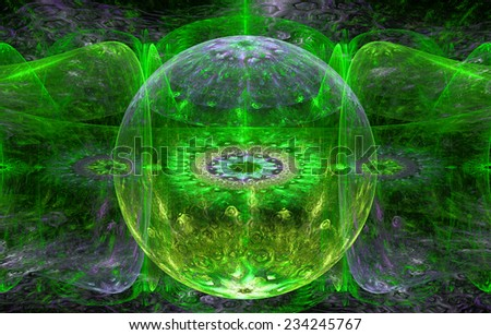Abstract fractal background with a detailed decorative ball in the center surrounded and decorated by star/flower-like pattern and hexagonal discs, all in green,yellow,purple - stock photo