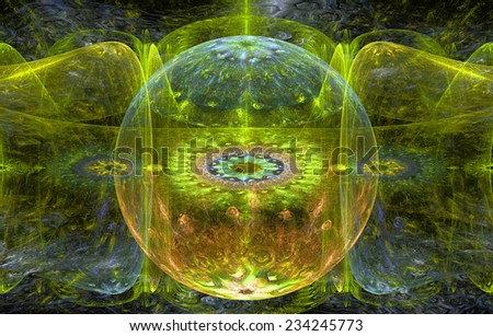 Abstract fractal background with a detailed decorative ball in the center surrounded and decorated by star/flower-like pattern and hexagonal discs, all in yellow-green,pink,blue - stock photo