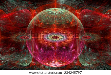 Abstract fractal background with a detailed decorative ball in the center surrounded and decorated by star/flower-like pattern and hexagonal discs, all in red and green - stock photo