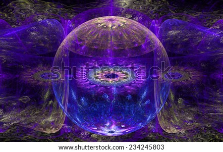 Abstract fractal background with a detailed decorative ball in the center surrounded and decorated by star/flower-like pattern and hexagonal discs, all in pink,yellow,blue - stock photo
