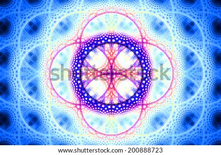 Abstract fractal background with a detailed decorative flower of life pattern in high resolution in shining blue, pink and purple colors against black color - stock photo
